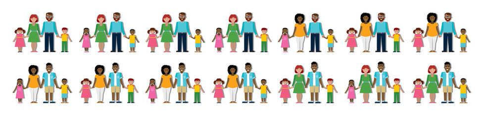 Multicultural traditional family with parents and children. Happy family. Boys and girls. African american and caucasian families. Adopted boy, girl. Smiling family. New parents.