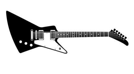 Black and white electric guitar on white background. Isolated stylish art. Modern grunge and rock style. Noir style. Explorer.