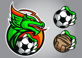 dragon football logo vector