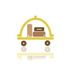 Luggage cart icon with reflection