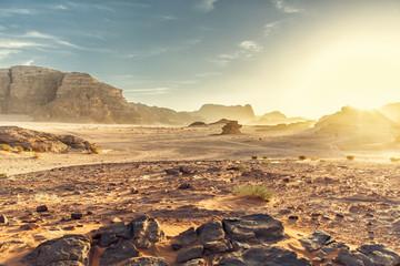 Printed roller blinds Desert Desert Landscape of Wadi Rum in Jordan, with a sunset, stones, b