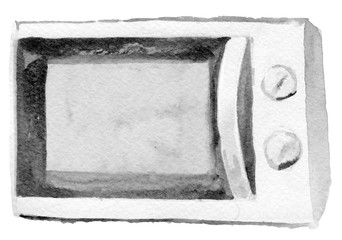 watercolor sketch of microwave on a white background