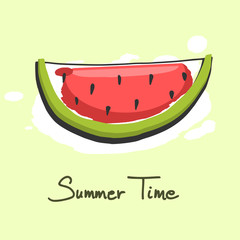 Slice of watermelon, summer time object, watercolor effect, vector illustration