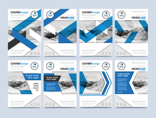 Brochure cover presentation design template vector. Blue annual report abstract flat background. Leaflet layout. Corporate document. Business booklet concept.