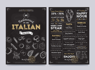 Italian restaurant cafe menu template design on chalkboard background vector illustration