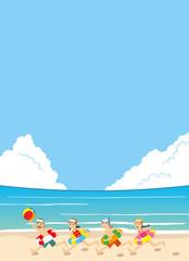 海辺を水着で走る子ども達のイラスト