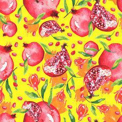 Watercolor, vintage pattern - pomegranate fruit, pomegranate flowers, red flowers, berries.