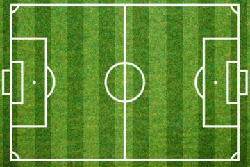 soccerball field green grass background. Flat lay