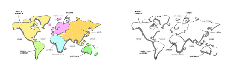 Vector Of World Map Quick Sketch Style / Vector Of World Map With Continents  Name