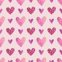 Cute watercolor purple hearts with polka dot, hand drawn illustration, seamless pattern