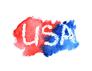 Watercolor word USA on blue and red splashes on white background