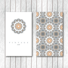 Set of cards, flyers, brochures, templates with hand drawn mandala pattern. Vintage decorative elements in oriental style. Indian, asian, arabic, islamic, ottoman motif.Vector illustration.