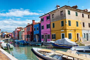 Street scene in Burano near Venice, Italy