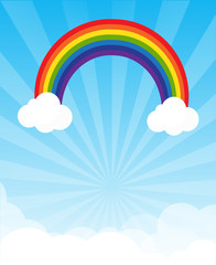 Sunburst and blue sky and rainbow background with copyspace vect