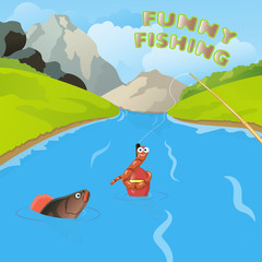 funny fishing illustration