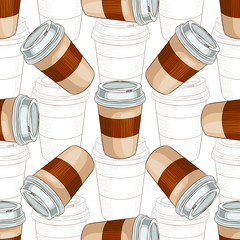 Seamless pattern coffee to go scetch and color