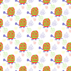 Children's background with turtles and algae for textiles and handicrafts