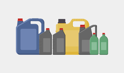 Vector simple illustration of different canisters, bottles and jerrycans isolated on white background.