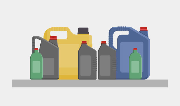 Vector flat illustration of different canisters and bottles with engine or motor oil isolated on white background.