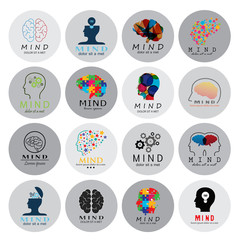 Mind Icons Set - Isolated On White Background - Vector Illustration, Graphic Design. For Web, Websites, Print