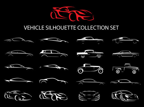 Concept supercar and regular car vehicle silhouette collection set. Vector illustration.