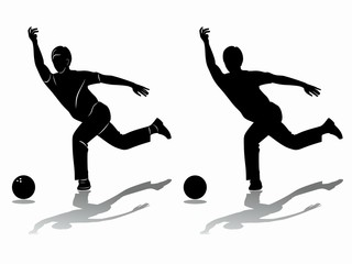silhouette player bowling. vector drawing