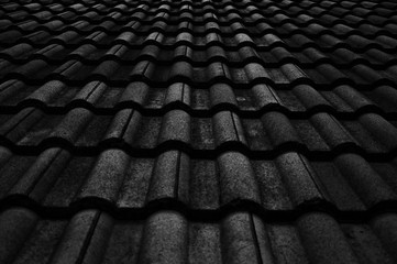 Old roof, low key and selective focus.