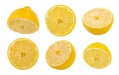 lemon slices on white background