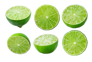 Limes slices on white background