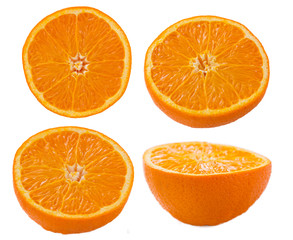 Orange slices on white background
