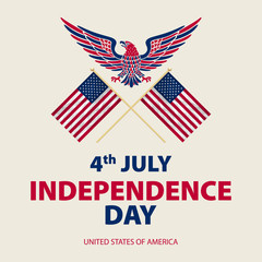 easy to edit vector illustration of eagle with American flag for Independence day