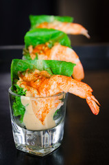 shrimp prawn with salad sauce with vegetable in small glass