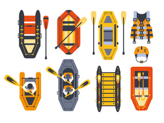 Rafting Boats And Gear Set