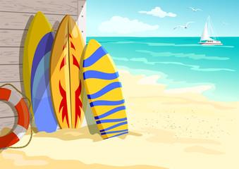 surfing on the beach. summer holidays