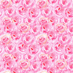 Roses flowers seamless pattern.Pink floral on a white background.Watercolor hand drawn illustration.