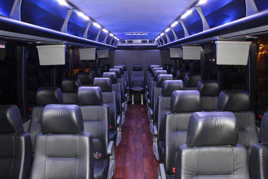luxurious limousine bus loaded with leather seats
