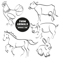farm animals minimal hand drawn set of pictures