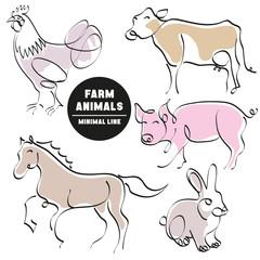 farm animals minimal hand drawn set of pictures