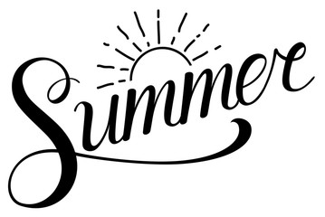 Summer text with sun. Calligraphic summer lettering