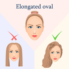 Hairstyle for elongated oval face