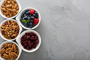 Variety of breakfast food in small bowls