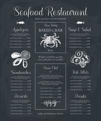 Decorative Seafood restaurant menu or flyer design. Vector menu template on chalkboard. Hand drawn sea food illustration.