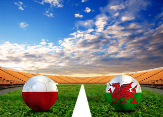 Football teams Poland and Welsh.