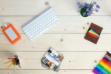 Creative Work Place on Natural wooden Desk with Idea Cards