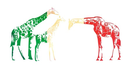 Giraffe flag isolated on white background
