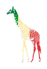 Giraffe flag isolated on white background