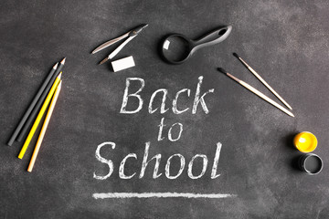 Back to school. School board with accessories