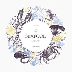 Vector Seafood card or flyer design. Decorative frame with Hand drawn sea food illustration. Vintage menu template. Seafood sketched background.