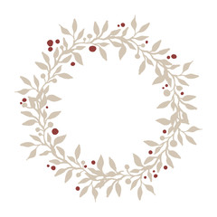 Wreath of branches, leafs and berries