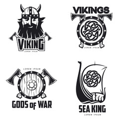 Scandinavian Viking set of logos, vector illustration outline isolated on white background set of logos with Viking shield Scandinavian boat and head, a different set of logos